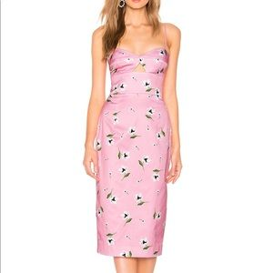 MILLY UMA dress in pink and white